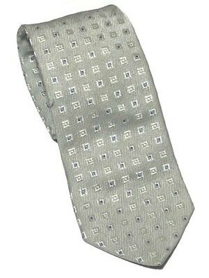 "Hugo Boss Men's Silver Geometric 100% Silk Tie 58.25""L X 3.5""W - Made in Italy"