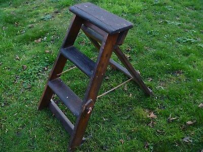 Vintage Wooden Two Tread Folding Step Ladders