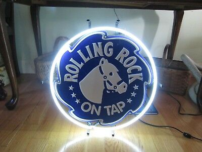 "Vintage Rolling Rock 19"" Round Neon Sign Latrobe Brewing Co. Latrobe PA USA"