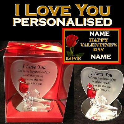 I LOVE YOU RED ROSE GLASS HEART SHAPED VERSE PLAQUE  GIFT WIFE GIRLFRIEND  F