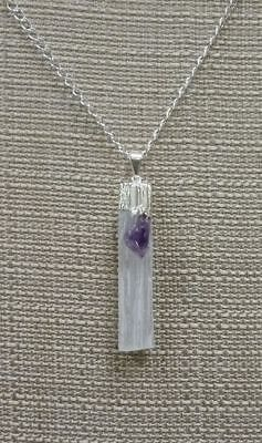 Hand Crafted SELENITE blade AMETHYST Necklace Crystal Moon Goddess DP809 protect
