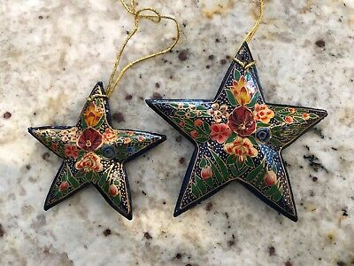 Vintage Hand Painted set of Star Ornaments