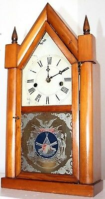 Antique E.n. Welch 1860's Sharp Gothic Steeple Clock W/ Cannons Painted On Glass