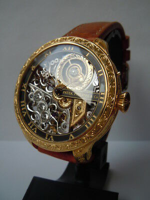 PATEK PHILIPPE Vintage Mens Wrist Watch Gold Skeleton Men's Wrisrwatch Swiss