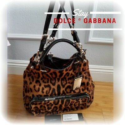 a642ba05b7 DOLCE   GABBANA Leopard Cheetah Leather Calf Borso A Mano Tote Crossbody Bag