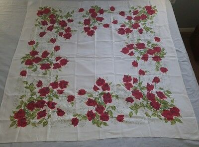 """Vintage Linen Tablecloth Red Roses 51"""" X 50"""""""