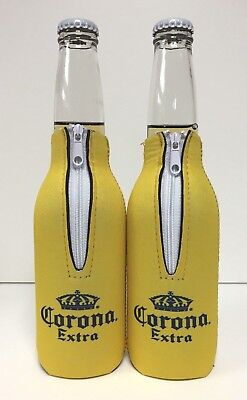 Corona Extra Beer Yellow Zip Up Bottle Koozie Coozie - New & Free Ship - Two (2)