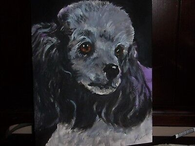 Poodle Silver  # 1 Dog Art Original Acrylic Abstract
