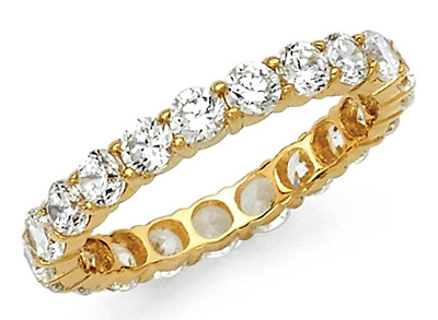 2.00 Ct Round Cut Real 14k Yellow Gold Eternity Band Wedding Anniversary Ring