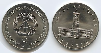 G12752 - East Germany 5 Mark 1987 A KM#115 Berlin Red City Hall DDR