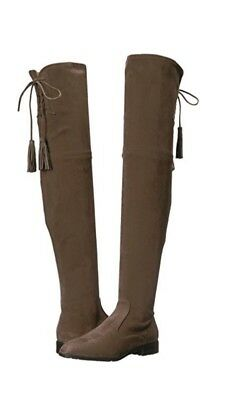 bcd44757e5e  230 MARC FISHER Alinda Over The Knee Boot Gray Stretch Fabric Women ...