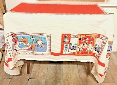 Vtg Linen Print Tablecloth French Wine Fisherman Market Mid Century 1950s 66x48