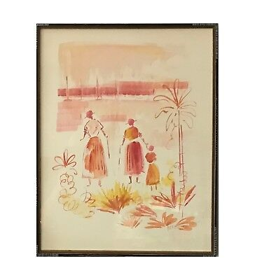 Alfred Birdsey: Original Watercolor on Paper Bermuda  Scene