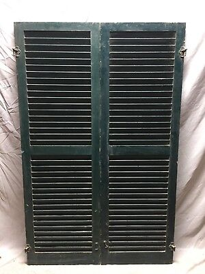 Medium Pair Antique House Window Wood Louvered Shutters 19X59 Shabby Vtg 53-19D