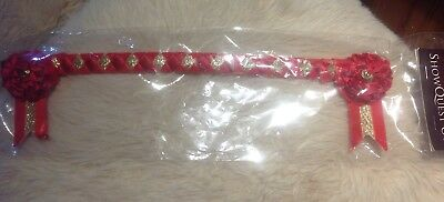 Showquest UK Newport Browband Red / Red / Gold Velvet BLING Size Pony Showing