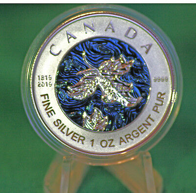 2019 CANADA $5 Silver Maple Leaf 1 oz Blue rhodium - 200th anniv. Q. Victoria