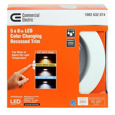 COMMERCIAL ELECTRIC 5 in & 6 in White Recessed LED Trim Light Changeable  Color