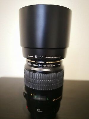 Canon EF 100-100mm f/2.8 USM Lens with a dedicated hood (ET-67) - Gently Used