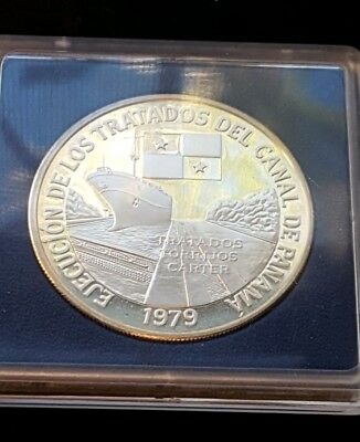 Panama 1979 Canal Treaty 10 Balboas 1.26oz Silver Coins,Proof