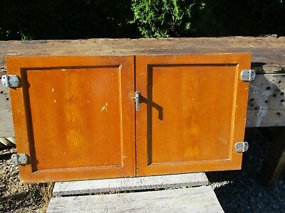 """Vintage Panel Cabinet Doors - Pair for Camp, Cabin, Cottage 1950's, 20"""" x 19"""""""