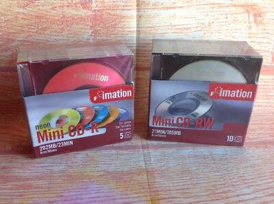 IMATION MINI CD-RW X 10 & MINI CD-R X 5 Packs Sealed Never Used. MINIDISKS