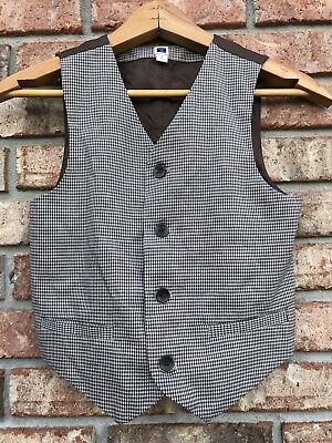 Janie And Jack Boys Suit Vest Size 7 brown/beige Houndstooth