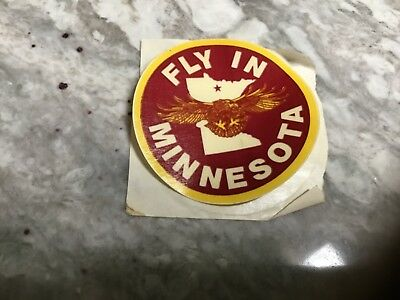 "FLY IN MINNESOTA Inside/Outside Window Sticker/Decal - 3"" diameter - MINT"