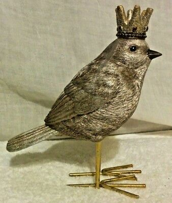 MacKenzie-Childs Complement Collection Pewter Bird with Gold Crown Figurine