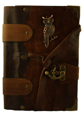 Handmade Genuine Leather Journal Diary Note Book Pad Sketch Brown Owl