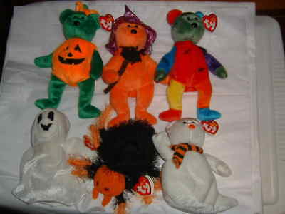 TY BEANIE BABIES HALLOWEEN Sheets Quivers Skitters Prunella Tricky Frankenteddy