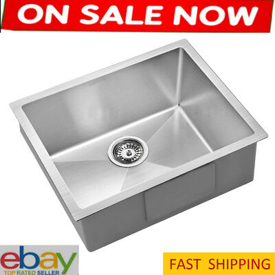NEW Kitchen Laundry Sink Single Bowl Square 54x44cm Stainless Steel Nano Silver