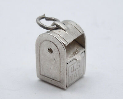 Sterling Silver 3D 17x14x8mm 6 gram Movable door Mail Mailbox Charm
