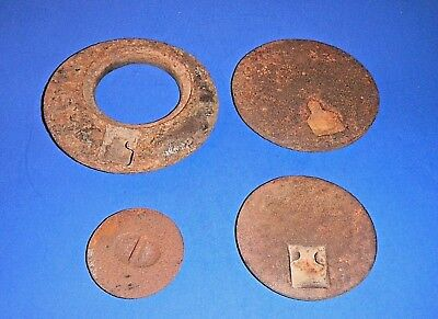 Lot of Small Antique Cast Iron Stove Double Burner Cover Inserts / Lids