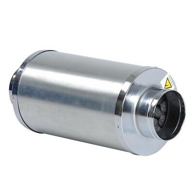 """4"""" inch Duct Muffler Inline Fan Silencer Noise Reducer Carbon FIlter Can Hydro"""
