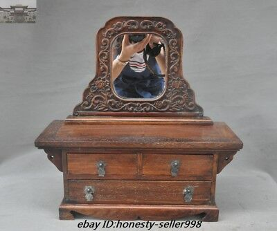 Old Chinese Huanghuali Wood Carved Ancient Woman Makeup box mirror Jewelry boxes