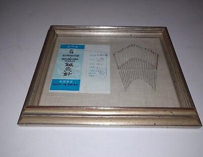 RARE Old Chinese Acupuncture and Moxibustion  Framed Needle Set  with packaging