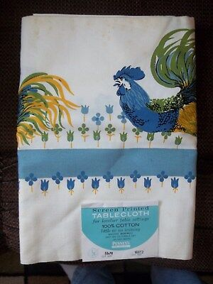 Vintage Fashion Manor Penny's Rooster Screen Printed Tablecloth 52 X 70