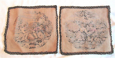 """Pair of Antique Woven Victorian Tapestry """"Made In France"""" 9.25"""" x 8.75"""""""