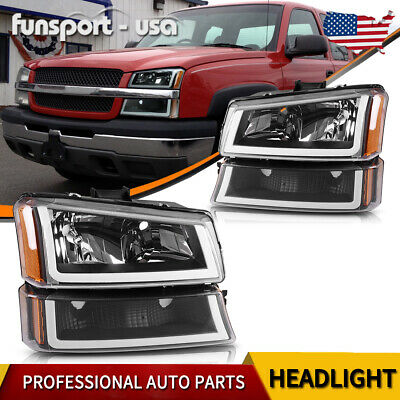 Black Housing For 2003 2006 Chevy Silverado Amber Headlight Lamp W Led Drl