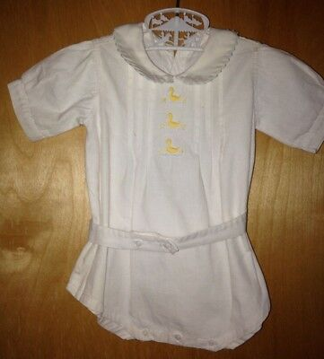 Vintage White Cotton Baby One-Piece With Yellow Embroidered Ducks