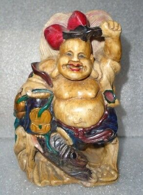 fine old  Chinese carved painted jade stone prosperity Buddha idol signed