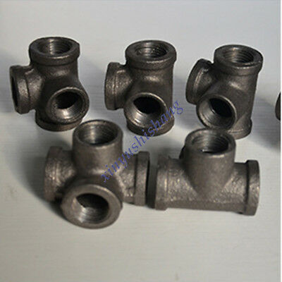 "4pcs 1/2"" Cross Tee Black Malleable Iron 4 Way Fitting Pipe NPT Decor Style DN15"