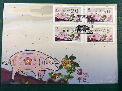 Macau 2019 Zodiac New Year Of The Pig Atm Labels Fdc