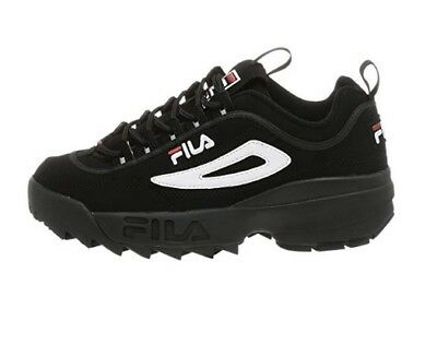 New Men Fila Disruptor Ii Black White Red Leather Synthetic 01653-018 Free Ship
