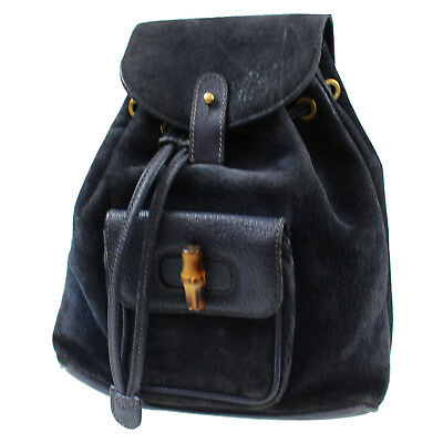 GUCCI Bamboo Backpack Shoulder Bag Black Suede Leather Vintage Authentic   L225 Z d3cbaaa7e9