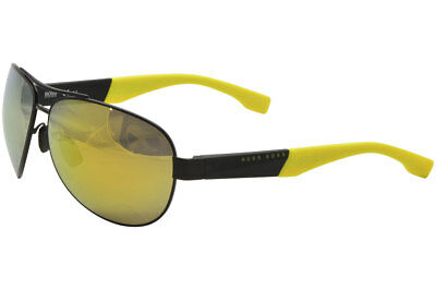 d28dc8523a Hugo Boss Men s 0915S 0915 S 1Y3 C4 Matte Black Yellow Square Sunglasses