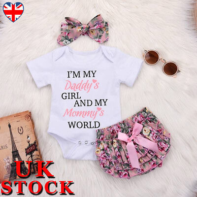Newborn Baby Girls Romper Jumpsuit Tops Tutu Pants Headband Clothes Set Outfits