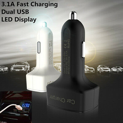 Dual Ports 5V/3.1A USB Car Cigarette Fast Charger Lighter Digital LED Voltmeter