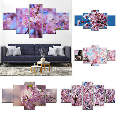 Pink Tree Flower Blossom Canvas Print Painting Framed Home Decor Wall Art Poster