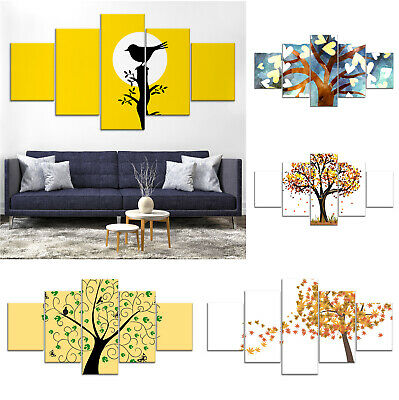 Colorful Tree Abstract Canvas Print Painting Framed Home Decor Wall Art ff 5Pcs